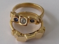 gold ring with diamond and amethysts