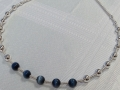 Catseye and sterling silver bead necklace