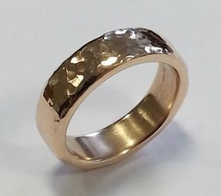 9kt yellow gold hammered wedding ring
