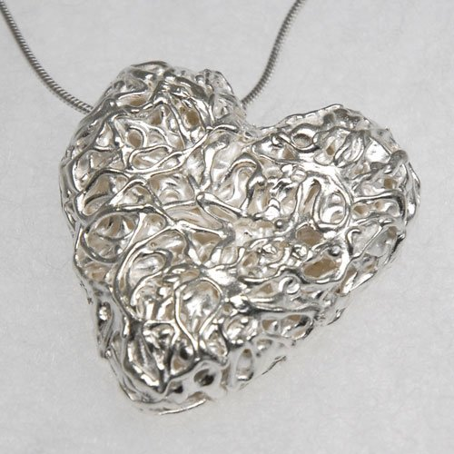 Silver clay workshops silver forge fine silver hollow heart pendant large tight squiggle aloadofball Choice Image