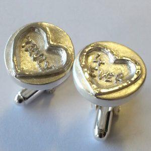 Fine silver love sweet cufflinks