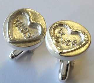 Fine silver love sweet cufflinks