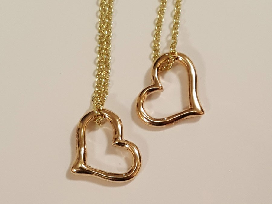 Gold heart pendants commission
