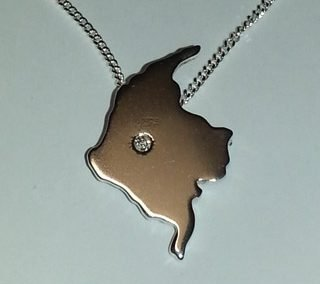 Sterling Silver Colombia and diamond pendant