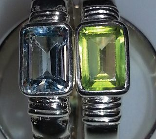 Sterling rings with peridot and blue topaz