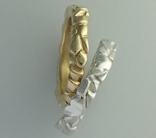 Sterling silver and 9kt yellow gold block rings