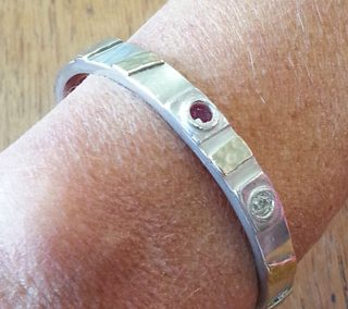 Sterling silver and 9kt yellow gold stoneset cuff