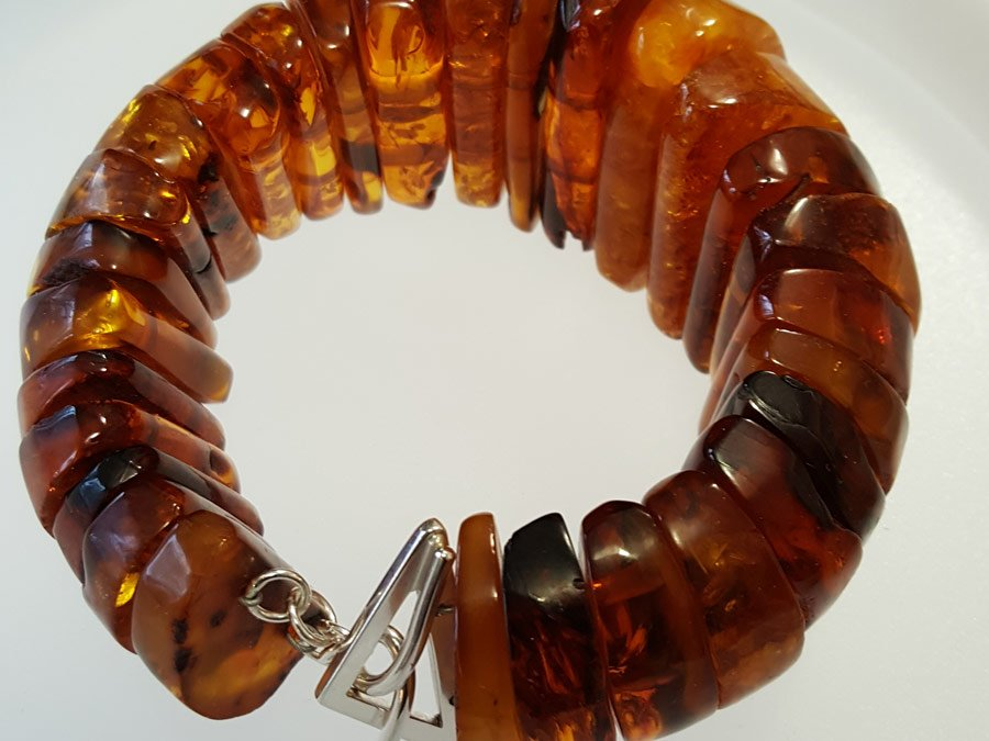 Sterling silver and amber bracelet