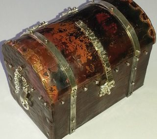 Sterling silver and copper treasure chest