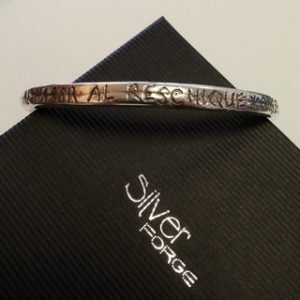 Sterling silver and memorial horsehair resin bangle 2