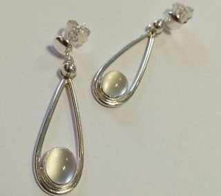 Sterling silver and moonstone button stud drop earrings