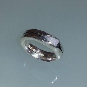 Sterling silver and stone anticlastic ring
