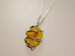 Sterling silver and sunshine yellow dichroic ashes pendant