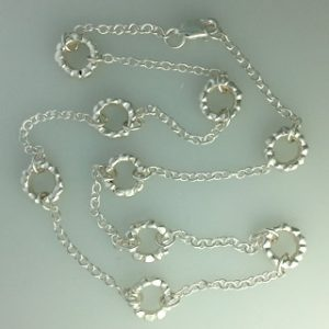 Sterling silver block ring necklace