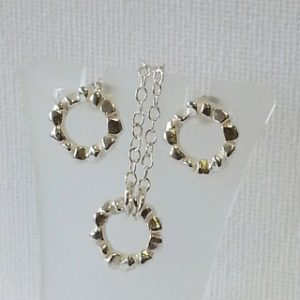 Sterling silver block ring pendant and stud earringsjpg