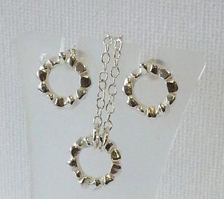 Sterling silver block ring pendant and stud earringsjpg