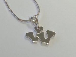 Sterling silver double letter V pendant