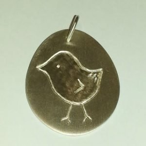 Sterling silver pendant with hand engraved chick