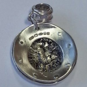 Sterling silver porthole pendant with Roman coin back