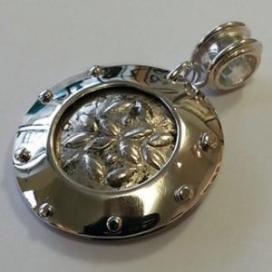 Sterling silver porthole pendant with Roman coin front
