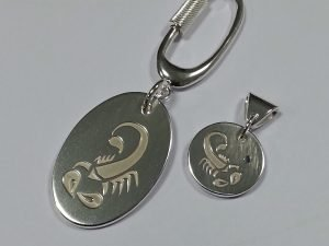 Sterling silver scorpio pendant and keyring