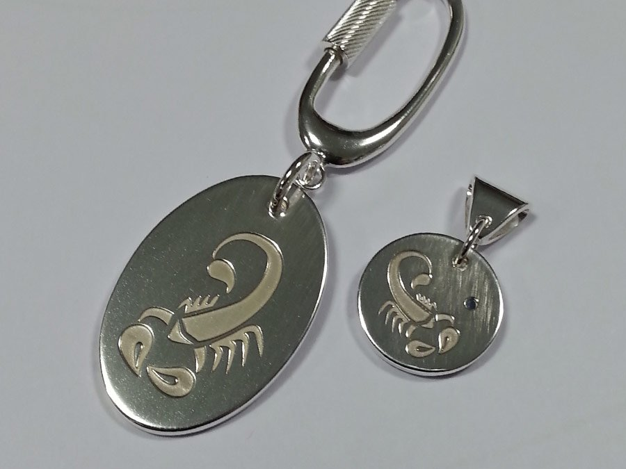 Sterling silver scorpio pendant and key ring