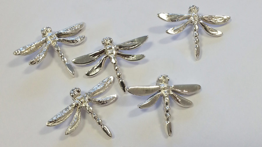 completed silver dragonfly pendants
