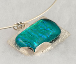 Aqua fused glass pendant on sterling silver base