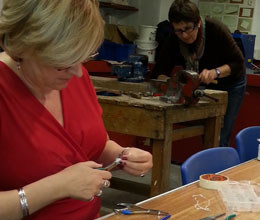 Silversmith students at work