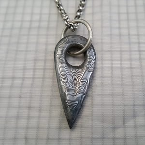 mens damascus tooth pendant