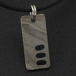 patterned damascus pendant for men