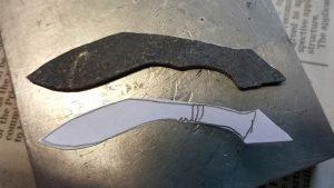 mens pendant damascus kukhri shaping