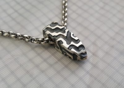 mens sterling silver maze pendat sideview