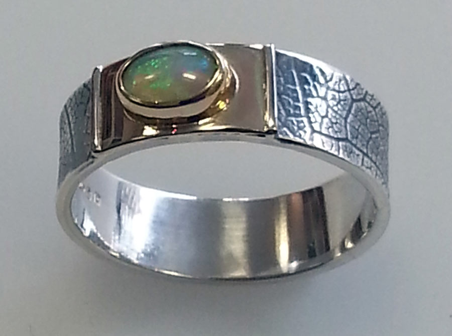 leaf textured silver ring with opal
