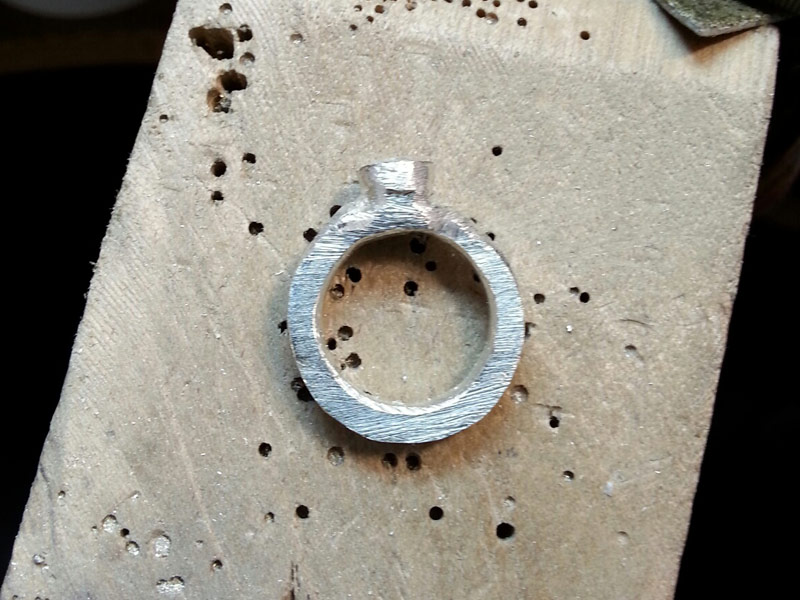 Partially filed silver ring shank
