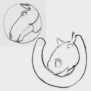 Sketch of a horse head pendant idea