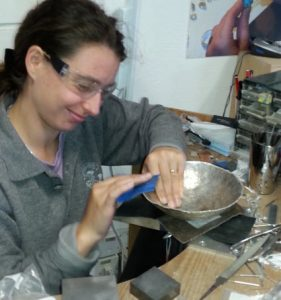 Silver bowl making workshop progress