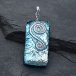 silver and pale blue fused glass pendant