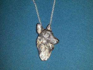 Silver dog pendant commission